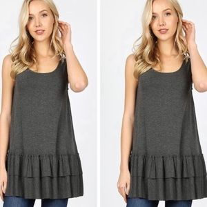 🤍🤍GRAY Lovers Tiered tank top